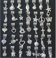 Wholesale Tibetan Pendants Wholesale Free Shipping - AAA Quality Spacer Dangle Tibetan Silver Beads Charms Pendants for DIY Bracelet Mix Order Wholesale Free Shipping