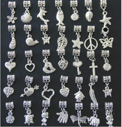 Wholesale Mix Tibetan Spacer - AAA Quality Spacer Dangle Tibetan Silver Beads Charms Pendants for DIY Bracelet Mix Order Wholesale Free Shipping