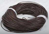 Wholesale Brown Leather Cord Bracelet - New Good 1.5mm Hot Deep Coffee Brown Free shiping Genuine Round 100% COW Real Leather Jewelry Cord String For Bracelet & Necklace