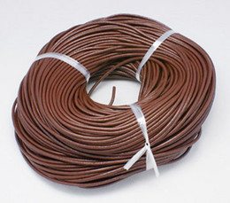 Wholesale Brown Leather Cord Bracelet - Wholesale 1.5mm Hot Best Coffee Brown Free shiping Genuine Round 100% COW Real Leather Jewelry Cord String For Bracelet & Necklace