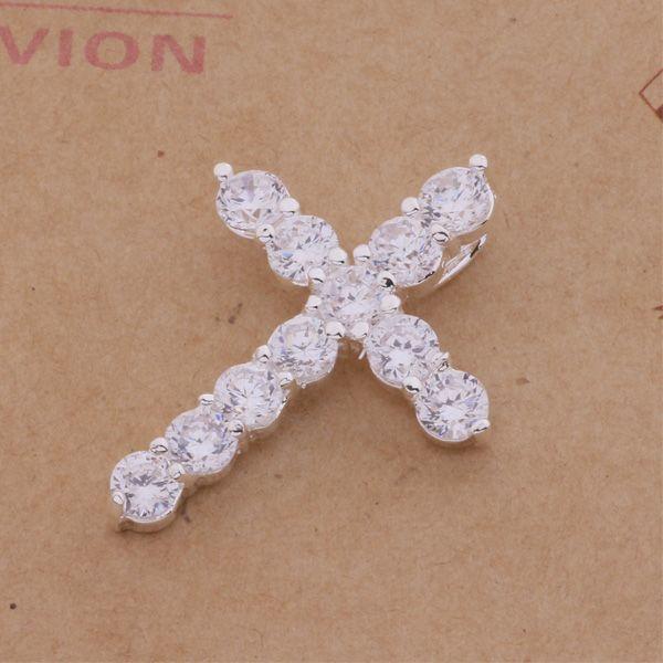 Zircon Cross Pendant Halsband 925 Silver Plated Fashion Smycken Toppkvalitet Gratis Frakt 10st