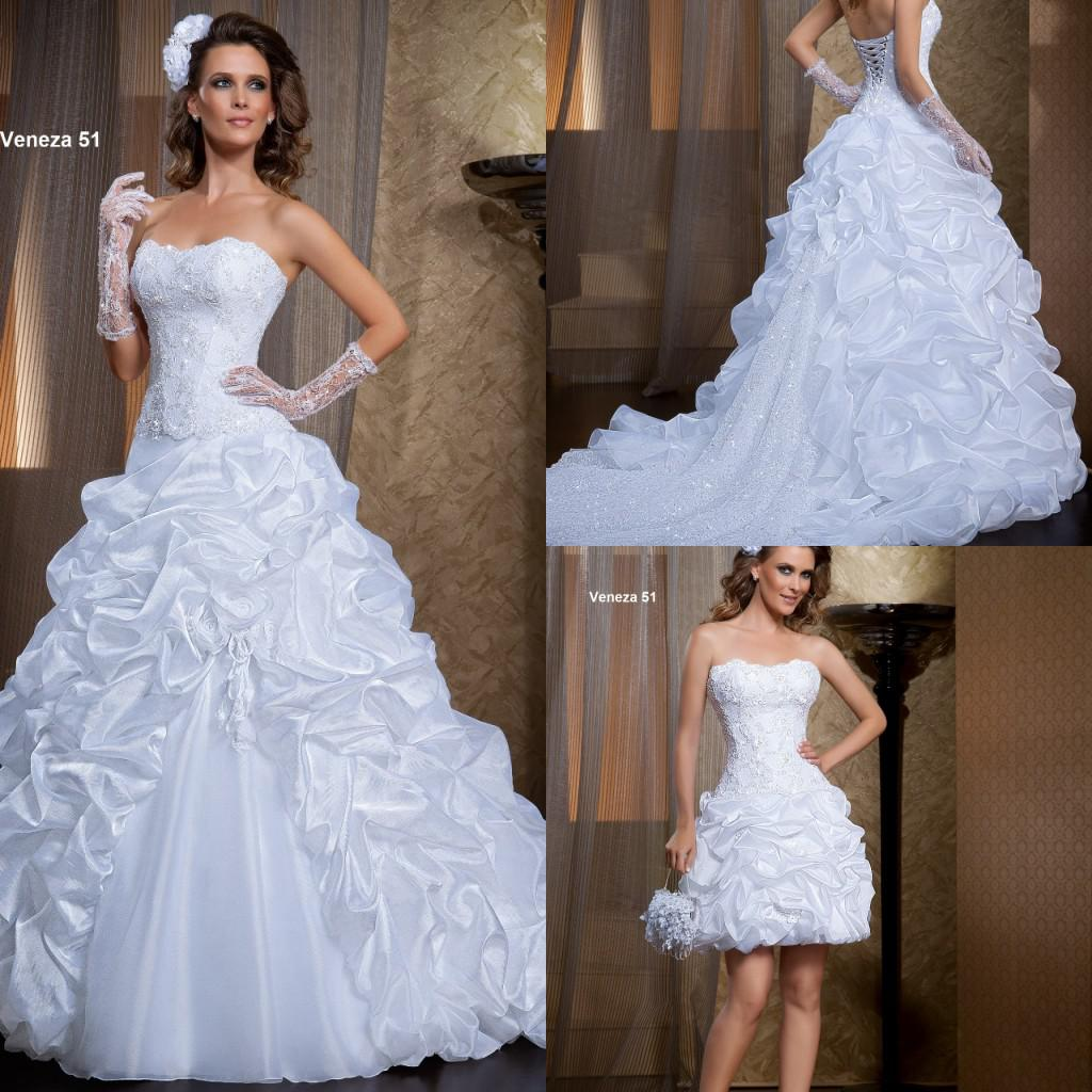 New Princess Ball Gowns Wedding Dresses A-Line Sweetheart White Organza Appliques Tiers Pleated Flowers Garden Bridal Gowns
