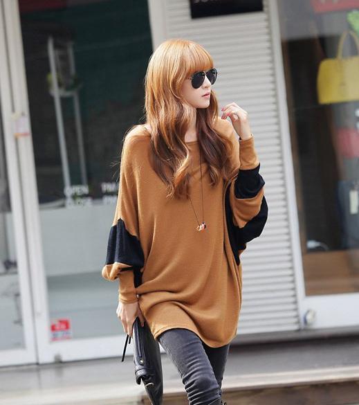 妊娠中の緩いバットスリーブスプライシング妊娠中のプラススジのTシャツ秋の春の新しい甘いスタイルの緩いトップスTシャツ