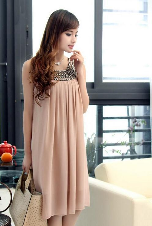Hot Summer Maternity Wear clothing Large size Beaded Pregnant Chiffon Maternity Dresses Women Mother Dress One-Piece Mater Dress
