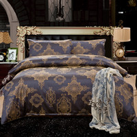 Wholesale Queen Comforter Brown - Fedex Free Home Textile Wedding Bedding Sets noble brown Jacquard high-grade cotton duvet cover bed sheet pillow 4pcs