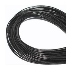 Wholesale Wire 1mm - Wholesale 1mm Hot Best Coffee Black Free shiping Genuine Round 100% COW Real Leather Jewelry Cord String For Bracelet & Necklace