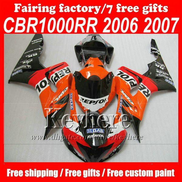 Full set High quality ABS Motorcycle fairing set for H0NDA CBR1000RR 2006 2007 CBR 1000RR 06 07 CBR1000 RR Repsol fairigs bodywork kits