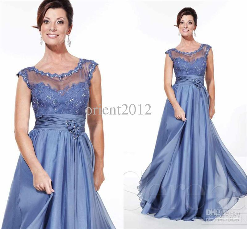2015 Plus Size Mother Of The Bride Dresses Blue Chiffon