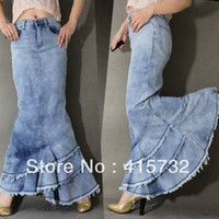 Wholesale Long Jeans Skirt Xl - Free Shipping New High Quality 2015 Jeans Fashion Long Denim Skirt For Women Slim Mermaid Style High Waist Skirt With Tassels PLus Size