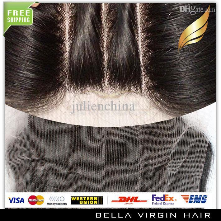 Бразильский предварительно сорванный 4 * 4 необработанные замыкание с детскими волосами натуральный черный прямой волнистый перуанский малазийский индийский монгольский