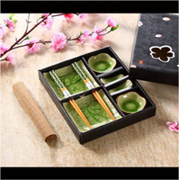 Wholesale Square Dishes Set - 8 Pieces Green Ceramic Sushi Serving Set for 2 w  Square Sushi Dishes Sauce Dishes Soya Sauce Dishes Bamboo Chopsticks and Rests