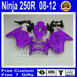 Wholesale Motorcycle Fairing Covers - custom motorcycle Fairings kit for kawasaki Ninja 250r 2008 2009 2010 2011 2012 purple black Fairing ZX250R EX250 vb42+ 7 Gifts tank cover