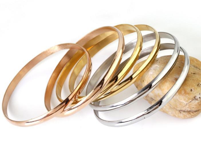 6 adet / takım Gümüş / Altın / Gül Altın Karışık Takı paslanmaz çelik Kadın Bileklik Bilezik En Kaliteli eşi hediyeler için