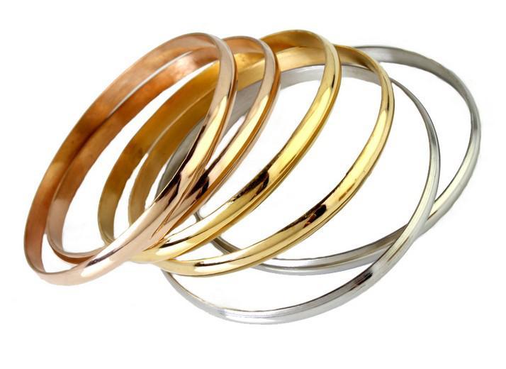 6st / set silver / guld / ros guld blandade smycken rostfritt stål kvinnor armband armband toppkvalitet för fru gåvor