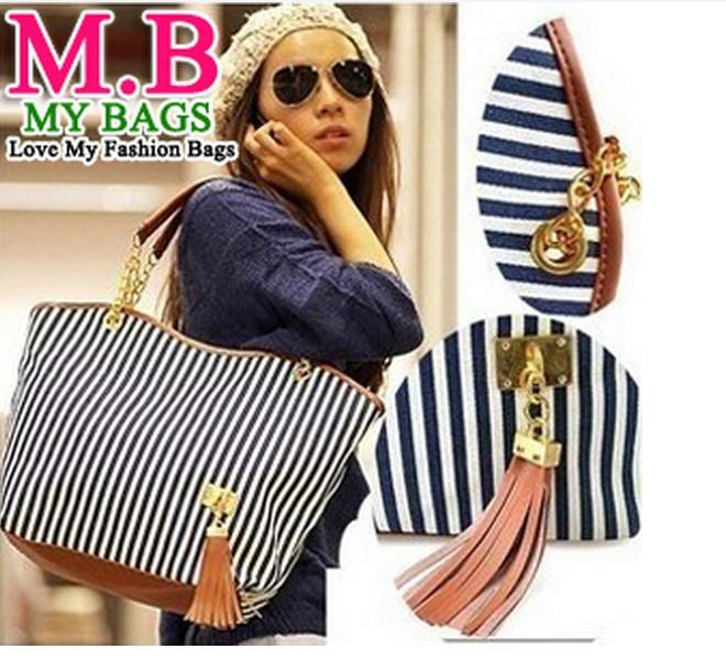 Bolsos de moda para mujeres Messenger Bags Stripe Street Snap Tote Candid lona bolso de cadena bolso de hombro bolsas de lona de la raya caliente