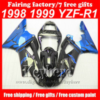 Wholesale 99 R1 Parts - Custom free ABS blue black fairing kit for Yamaha YZF R1 98 99 YZFR1 1998 YZF-R1 1999 fairings motorcycle parts bodyworks kit with 7 gifts