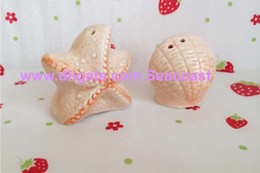 Wholesale Seashells Salt Pepper Shakers - 60sets=120pcs Seashell Sea Shell Star Fish Starfish Nautical Beach Ocean Salt Pepper Shakers Wedding party Gifts Gift 0001