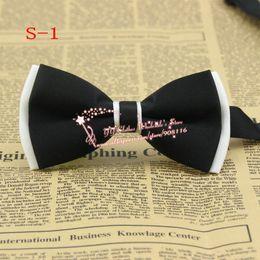 Doble capa, parte superior negra inferior blanca, NUEVA llegada para hombre de imitación de seda Tuxedo moda ajustable cuello Bowtie Bow Tie, precio barato, S1 desde fabricantes