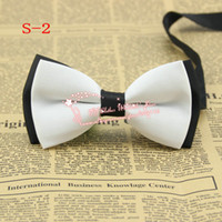 Wholesale Cheap Neck Bow Ties - Double layer,White Top Black bottom,NEW Arrival Mens Imitation Silk Tuxedo Adjustable fashion Neck Bowtie Bow Tie,Cheap price,S2