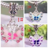 Wholesale Silver Butterfly Dangle Beads - Hot ! 50Pcs Enamel Butterfly Dangle Bead for Silver European Charm Bracelets 34 mm x 22 mm (z030)