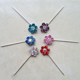 Wholesale Hijab Selling - Free shipping~wholesale blue,pink,purple,white color hijab pin, hot sell silver muslim flower shap
