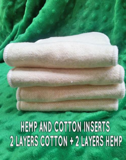 Promotion Baby Hemp Organic cotton 4 Layers Reusable Baby Cloth Diaper Pads Nappy Inserts