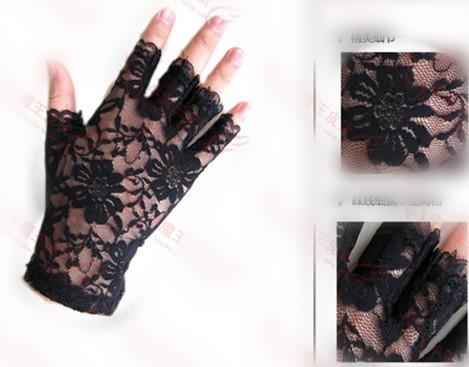 Nouvelle arrivée chic noir dentelle demi-doigt poignet longueur pas cher en stock gants de mariée accessoires de mariage
