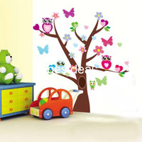 Wholesale Tree Color Sticker - Original Design-The Wonderful Owl World Color owls in big tree Kid' Loving  Removable Wall Decals :100*93cm Waterpoof Wall Sticker ZY1006