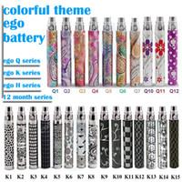 cigarrillo electronico ego q baterias al por mayor-Batería colorida del ego de calidad superior Cigarrillo electrónico EGO Q / ego k / ego H / 12 meses tema Batería 650/900 / 1100mAH para CE4 CE5 ego atomizador DHL