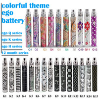 Wholesale Electronic Cigarette Colourful - Top quality Colourful ego battery Electronic Cigarette EGO Q ego k ego H 12 month theme Battery 650 900 1100mAH for CE4 CE5 ego atomizer DHL
