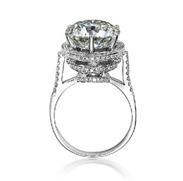 Wholesale Diamond Ring 5ct - Wholesale Glaring 5ct SONA Synthetic Diamond Finger Rings for Women 18K White Gold Plated 925 Sterling Silver Wedding Ring