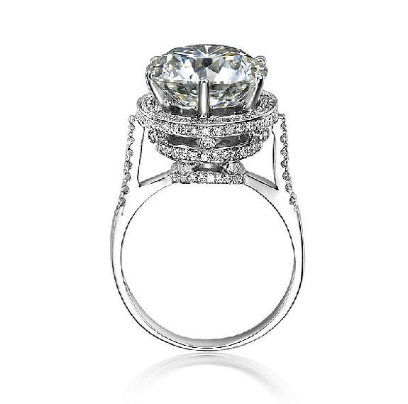 Anelli di barretta del diamante sintetici Glaring 5ct all'ingrosso per le donne Anelli di nozze in argento sterling 925 placcato in oro bianco 18 carati