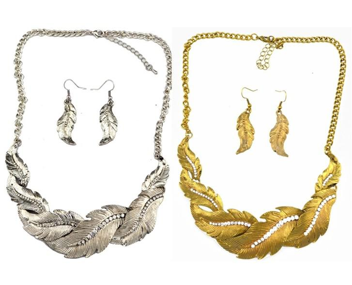 New Vintage Style Feather Shape Rhinestone Pendant Necklace Earring Set