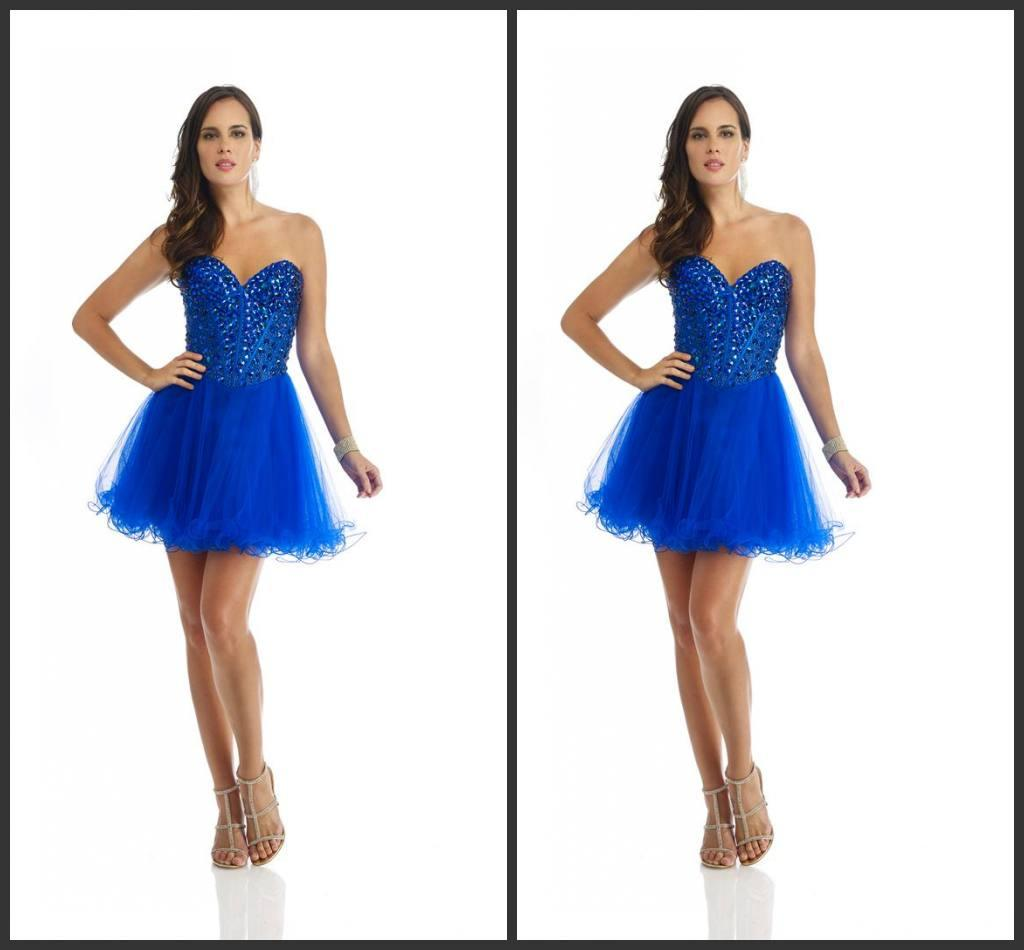 2014 hot sale new design royal blue tulle short prom dresses spring collection piping sweetheart knee length crystal beads backless cheap