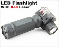 Wholesale Tactical Red Laser Torch - Tactical aluminum gun light flashlight LED torch with red laser sight and quick detachable vertical grip