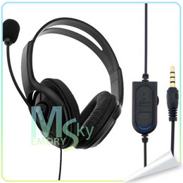 Wholesale Games Mic - Black Blue Wired Gaming Headset Game Controller Earphone with MIC for Sony Playstation 4 PS4 Blue 002096