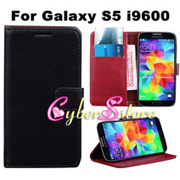 Wholesale S Flip Case - For Galaxy S5,Retro Vintage Flip PU Wallet Leather Case Cover With Card SlotS Pouch Stand For Samsung S5 phone bag S 5 i9600
