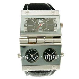 Wholesale Oulm Quartz - Oulm men Sports Quartz wristwatch Leather Military watches Multiple Time Zone items hours Luxury brand watch Dropship