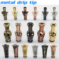 Wholesale Dragon Head Shaped - Metal Drip Tip Mouthpiece as Skull Ox Dragon Head animals Shape for CE4 CE5 MT3 glass atomizer Protank Electronic Cigarette ego atomizer