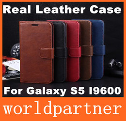 Wholesale Buy Card Holder Wallets - Crazy Horse Wallet Style Folio Leather Case Cover Skin Holster for Samsung Galaxy S5 I9600 with Stand Holder Credit Card Slot Money Pocket