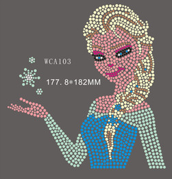 Wholesale Heart Transfers - Snow and ice colors Girl designs WCA103 Cartoon & Kids rhinestone transfers Free Shipping hot sale itme designs