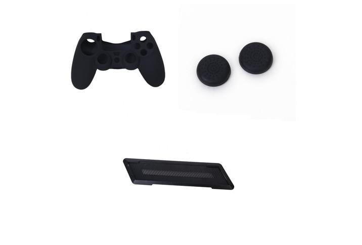 Spielkonsole Vertical Balance Stand + Silikon Skin Case Abdeckkappen für Sony PS4