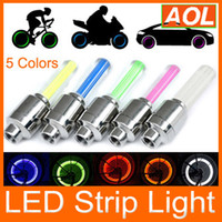 Wholesale Novelty Bike Lights - Novelty Car Bike LED Flash Tyre Light 5 Colors Wheel Valve Stem Lamp Motorbicycle Wheel Light 50pcs