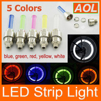Wholesale Tyre Valve Lights - Car Bike LED Flash Tyre Light 5 Colors Wheel Valve Stem Lamp Motorbicycle Wheel Light 200pcs lot