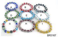 Wholesale Evil Eye Charm Glass - Free shipping women 10mm multi glass evil eye bracelet