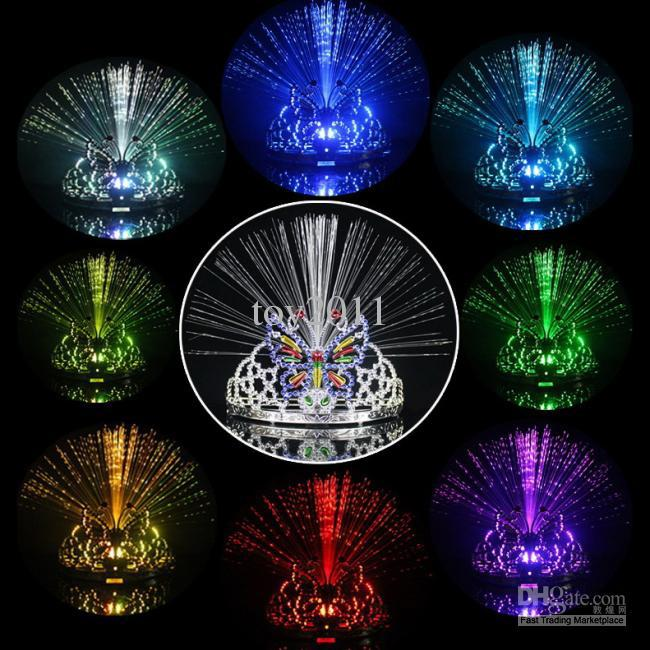 Colorful Light Flash Changing 8-colors Dancing Party Headgear Butterfly Crown Fiber-optic Headband