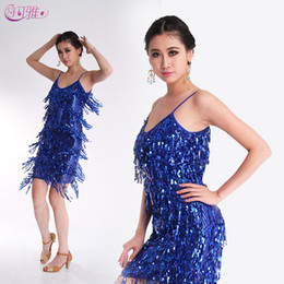 Wholesale Dance Show Costumes - New Adult Latin Dance Dress Sequined Fringed Latin Show Dancewear Night Dress Sexy Performance Costumes A0157