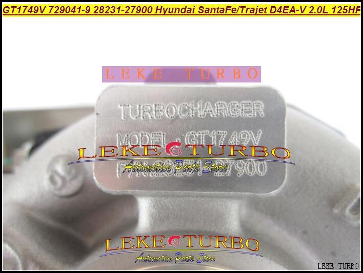 GT1749V 729041 28231-27900 729041-0009 Hyundai Santa Fe 2003-05、Trajet 2002-2.0T D4EA-V 16V 2.0Lディーゼルのためのターボターボチャージャー729041-0009