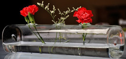 Wholesale Glass Vases Square - Simple glass vase transparent long tube square flower Home Furnishing jewelry ornaments
