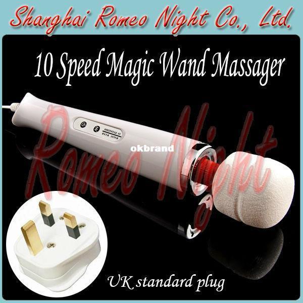 Ingrosso - Spina standard britannica, massaggiatore magico a 10 velocità, massaggiatore corporeo ultra potente, vibratore clitorideo